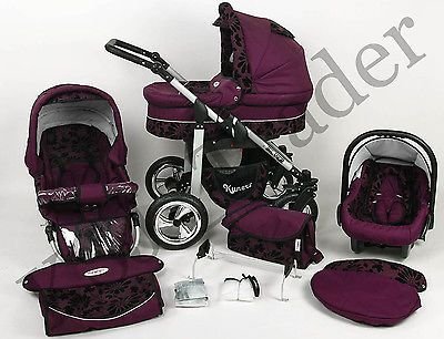 Silver 3 in 1 Pram Pushchair Stroller Travel System Purple / Flowers