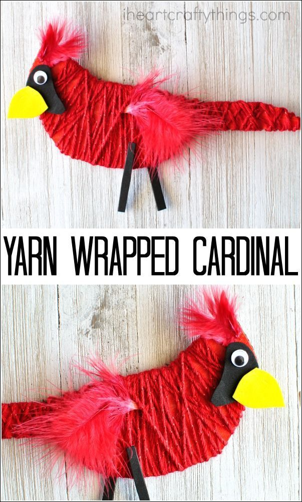 This yarn wrapped cardinal craft is bright and beautiful and perfect for a winter kids craft and for strengthening fine motor muscles. Fine motor activity, bird crafts, preschool crafts, fun kids crafts ideas.