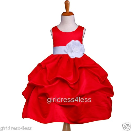 red flower girl dress but I would want a black sash and flower