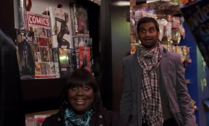 "This screenshot of Donna and Tom, when Ben bought himself a Batman costume on ""Treat Yo Self"" day, could be your treat to yo self as well #treatyoself #parksandrec"