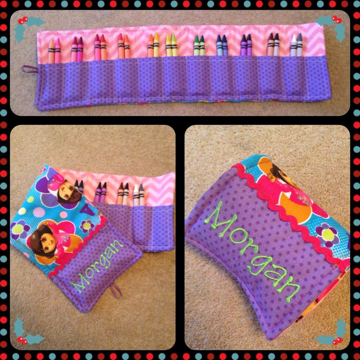 Homemade personalised crayon roll
