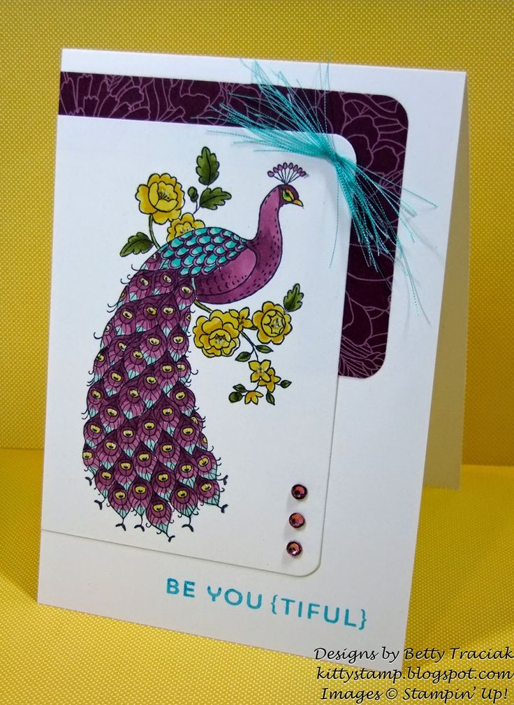 Stampin' Up! ... hand crafted card from Kitty Stamp: Purple Perfect Peacock ... gorgeous fantasy colors ... luv the deep puples with turquoise and golden yellow ...