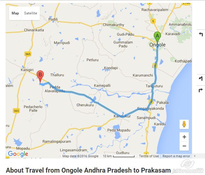 get distance from ongole to prakasam by road travel time from ongole to prakasam