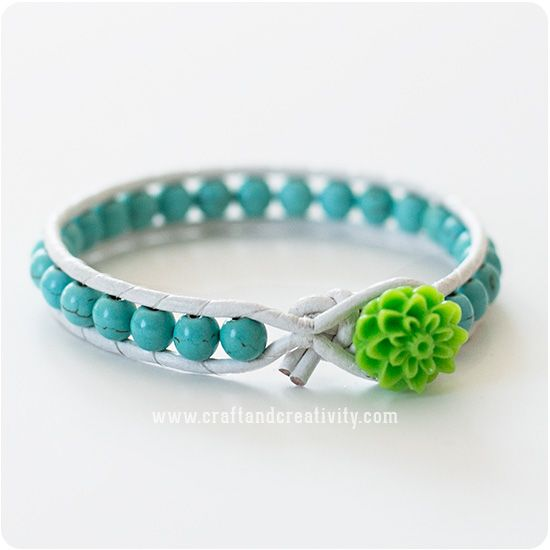 Läderarmband med stenpärlor – Leather bracelet with stone beads   Craft & Creativity – Pyssel & DIY