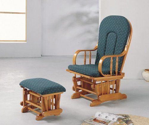 Country Oak Finish Wood Glider Rocker Rocking Chair W