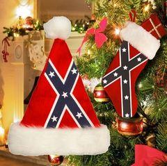 Hat and Stocking Set - Rebel Flag Santa Hat and Stocking Set