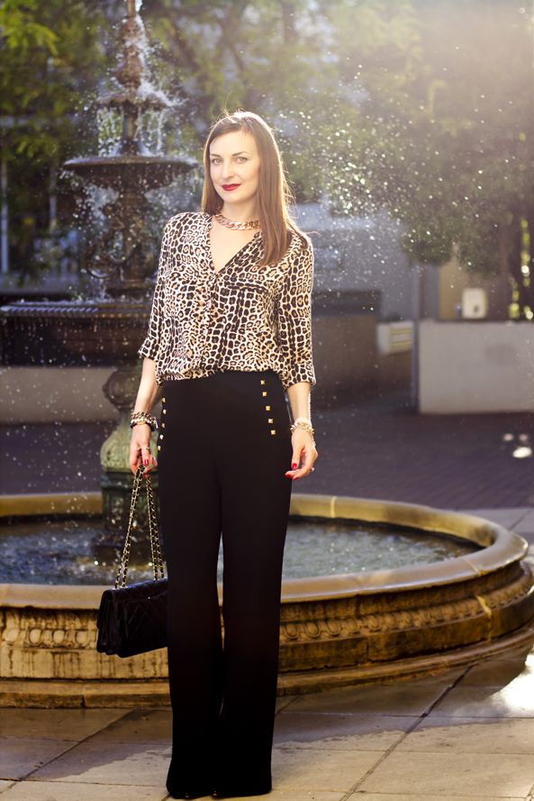 Leopard print and wide leg high waisted pants - smart casual outfit