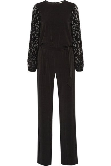 MICHAEL Michael Kors - Guipure Lace-paneled Stretch-jersey Jumpsuit - Black - US10