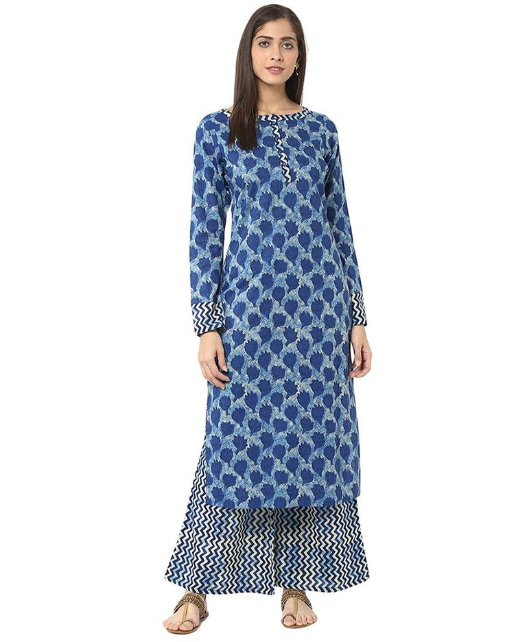 Jaipur Kurti blue Indigo Printed Kurta with Palazzo Trousers http://www.joctoc.com/women-kurtas/divena+black+colour+viscose+kurtas+for+women/58625191363df/products.html