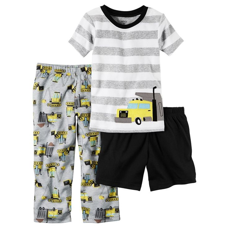 Baby Boy Carter's Striped Tee, Print Pants & Solid Shorts Pajama Set, Size: 24 Months, Ovrfl Oth