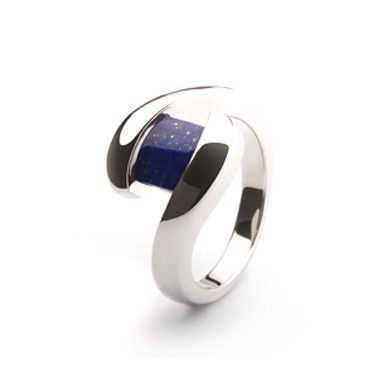 This is the classic bypass design with a beautiful blue lapis. This ring feels nice and rich next to the skin, it sits low, close to the finger, there is no prong work to worry about and the ring is w