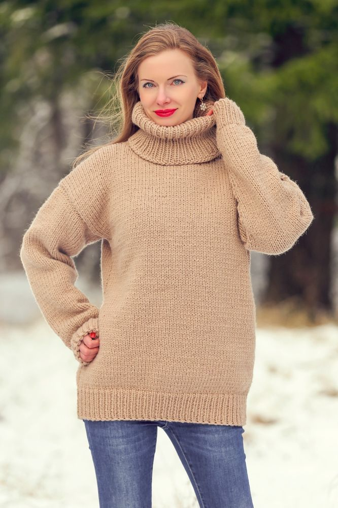 Beige hand knitted wool sweater handmade thick turtleneck jumper SUPERTANYA #SuperTanya #Turtleneck
