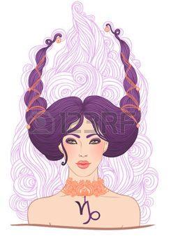 Иллюстрация Козерог астрологический знак в виде красивой девушки, изолированных на белом. Вектор искусства. photo