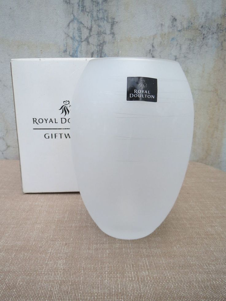 Royal Doulton Boxed Vased, Lovely Gift, 18cm Tall, Frosted Crystal, Heavy Glass  | eBay