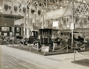 French Automobile section in the Palace of Transportation at the 1904 World's Fair.