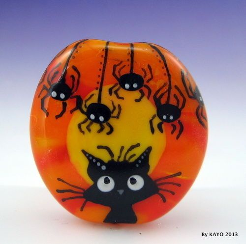 """ALONG CAME A SPIDER"" byKAYO a Handmade CAT Lampwork Art Glass Focal Bead SRA"