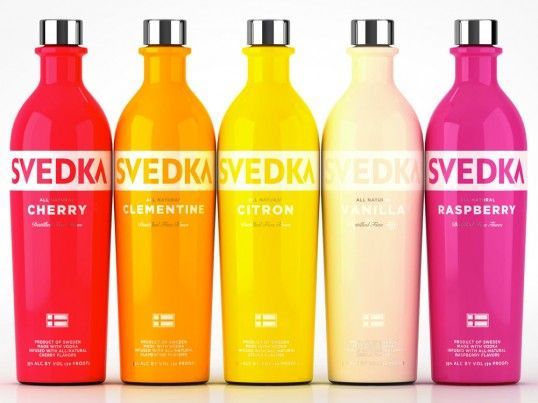 redesign of Svedka's entire product range by ESTABLISHED / super saturated colors, shrink wrapping / so pretty for summer!