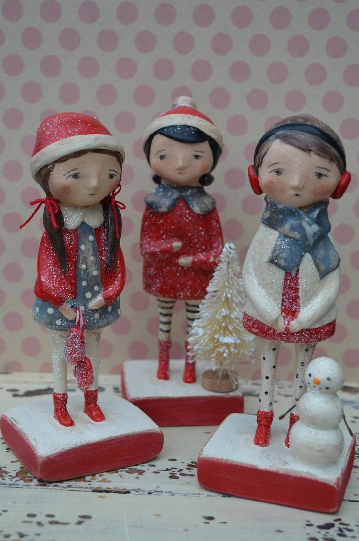 Folk Art Paperclay Winter Friends Doll (Sisal tree).