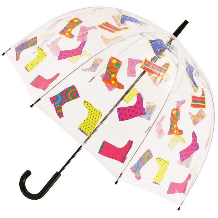 Wellies Clear PVC Dome Walking Length Umbrella - Brolliesgalore