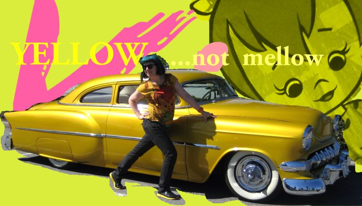Find a car to match your outfit. V.V. With '54 yellow Chevy.