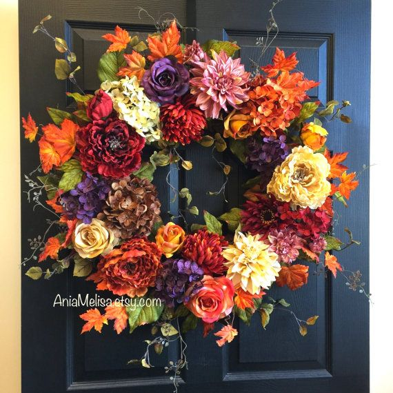 fall wreaths autumn wreath orange brown yellow orange purple wreath front door decor handmade wreaths home and living bouquet outdoor Thanksgiving 30  The perfect front door or wall decor, wedding decorations. A great gift for Fall/ Autumn, Wedding, Thanksgiving, Birthday ...  This XXL wreath is made with silk artificial hydrangeas, faux dahlias, faux peonies, faux mums, faux roses, faux green leaves, it is finish with fall leaves for a perfect finishing touch.  SIZE: 30 wide, 6-7 deep   To…