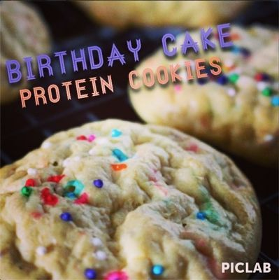 Ripped Recipes - Birthday Cake Protein Cookies - Nice and moist birthday cake cookies! Cellucor Cor-Fetti Cake Batter protein, vanilla pudding mix and mashed bananas give these their awesome flavor :)