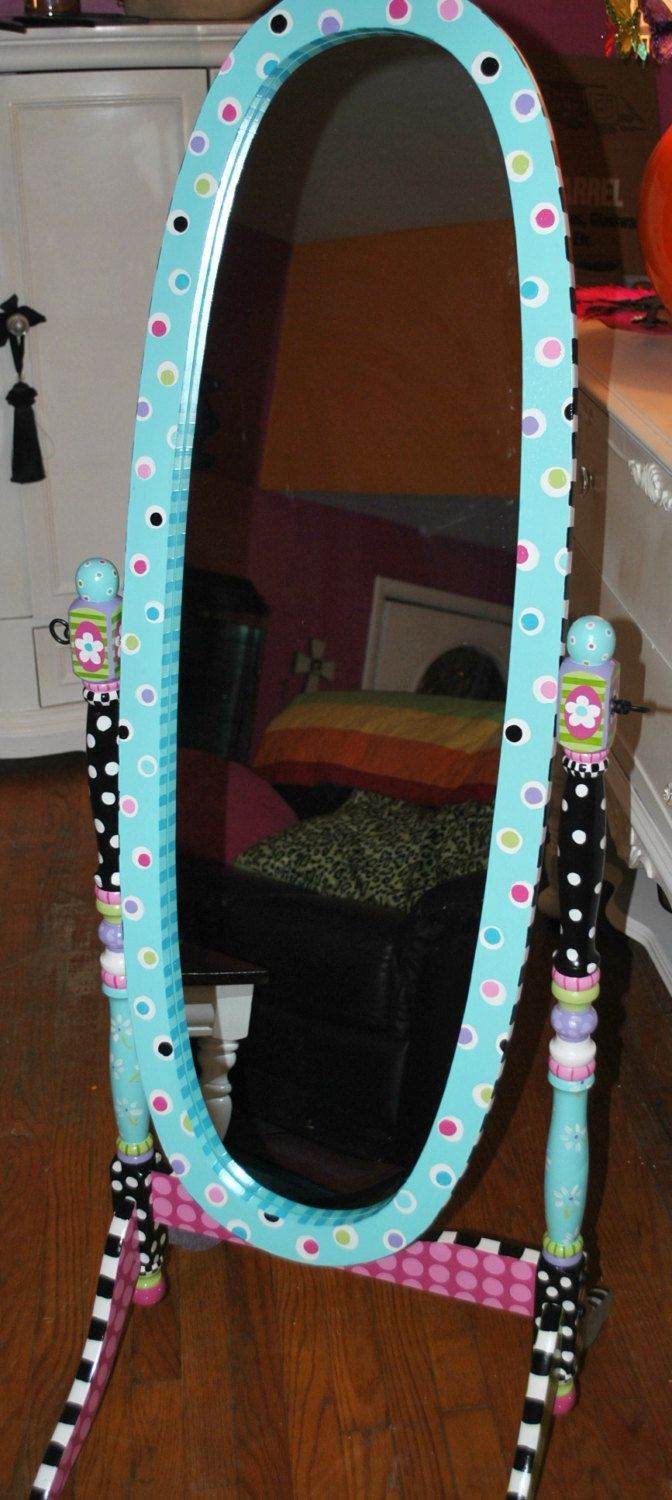 Cute For A Girls Room Personalized Free Standing Mirror