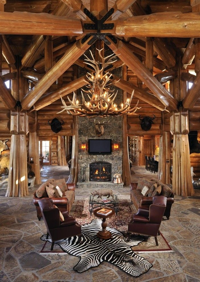 Impressive Deer Antler Chandelier method Other Metro Rustic Living Room…