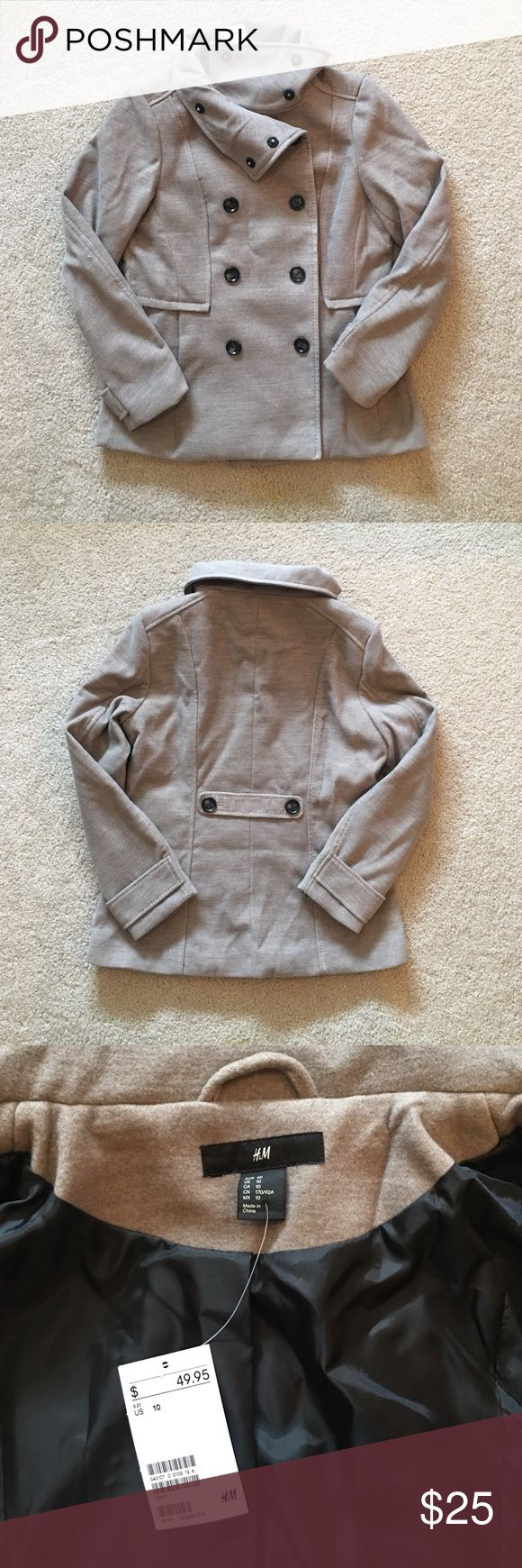 H&M Double Breasted Jacket New with Tags! Bought last year and never wore and now it's a little too big. 2 front pockets. The neck is cute buttoned up or laying flat. Great color too! H&M Jackets & Coats Pea Coats