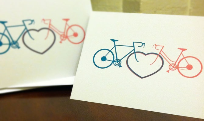 Bikes in Love - screen printed cards.