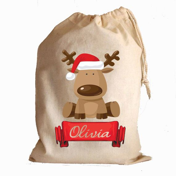 Christmas cotton drawstring gift bags and santa sack stocking Cute Reindeer with banner personalise with any name on Etsy, $4.27 CAD