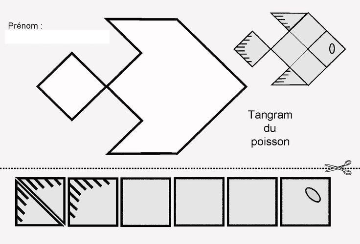Tangram du poisson : figures et pièces pour maternelle