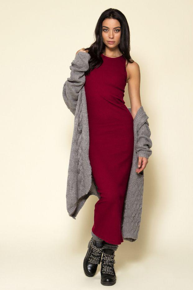 Μάξι καθημερινό φόρεμα μπορντώ