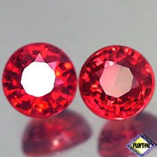 1.10CT SENSATIONAL VVS PAIR ROUND FIERY RED RUBY NATURAL