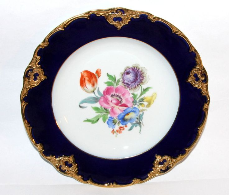 Meissen * Prunk- Teller * Blumen-Bukett Bunt, Royal-Blau & Gold * 18,5cm * 9860 | Antiquitäten & Kunst, Porzellan & Keramik, Porzellan | eBay!