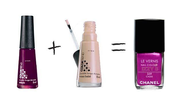 Misturinha para Chanel Sedução AVON Color Trend + Rosa Bebê AVON Color Trend = Cassis Chanel