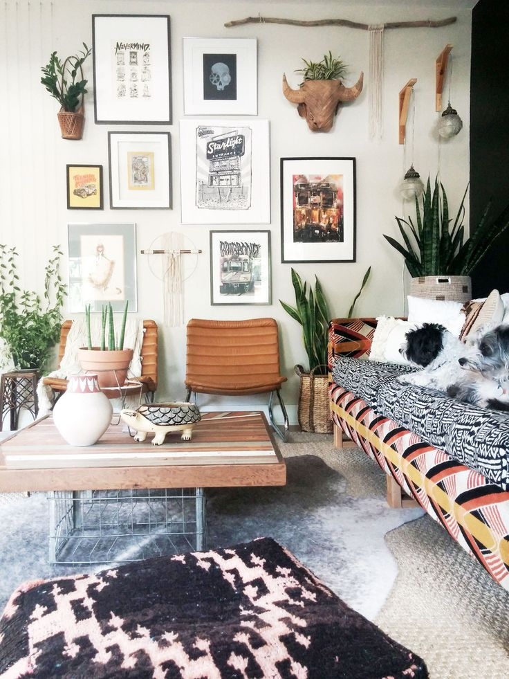 Bohemian living room with a gallery wall