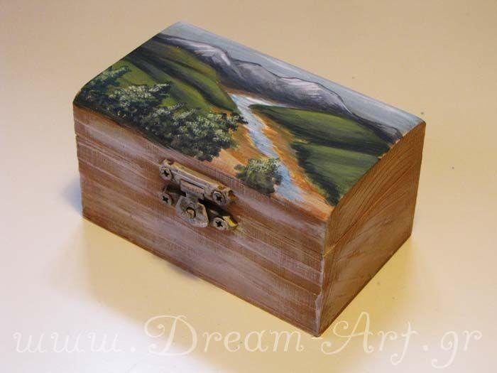 Ζωγραφική σε ξύλινο κουτάκι, μπομπονιέρα