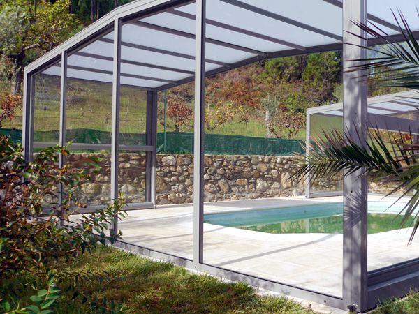 Abri haut de piscine télescopique posé au Portugal. Nouvel gamme d'abri d'Octavia Toulouse