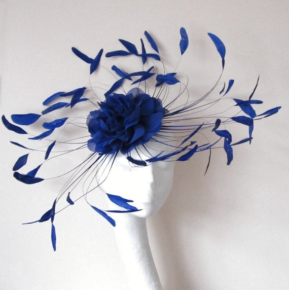 Royal Blue Cocktail Fascinator Hat for Kentucky Derby & Ascot. $125.00, via Etsy.