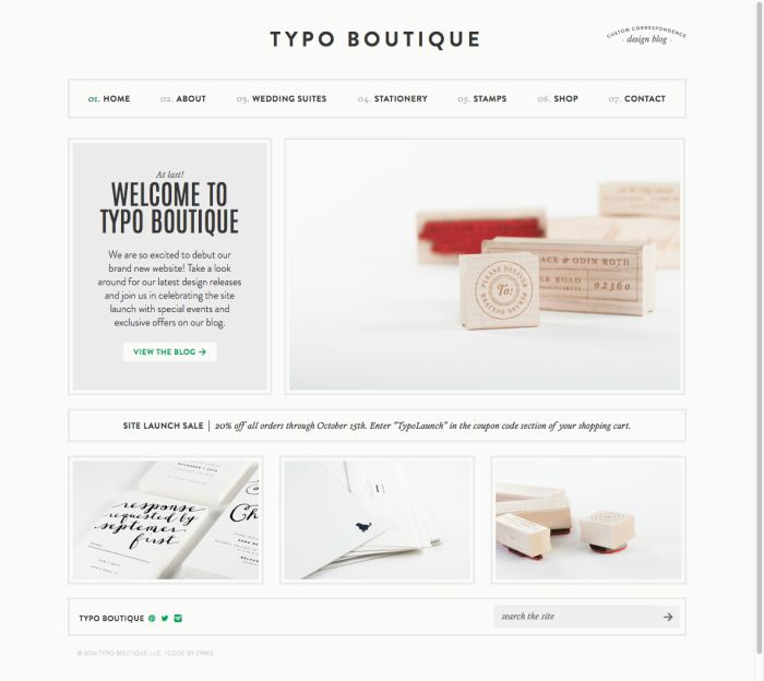 Typo Boutique // Love this very white website // Design by Christine Mitchell // Development by Zoe Rooney //