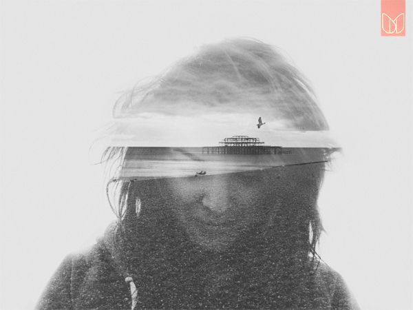 The image bring on some memories of times in Brighton. A lovely city. Double exposure portraits, 'The Old Brighton Pier // Valerie' by Dan Mountford.