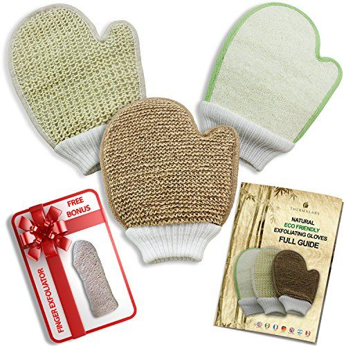 The-Worlds-Best-Exfoliating-Gloves-Set-Natural-Eco-Friendly-Body-Scrub-Exfoliator-Pack-Bamboo-Fiber-and-Loofah-Jute-and-Sisal-Mitts-with-Printed-Guide-and-Free-Finger-Exfoliator-Perfect-as-a-Gift