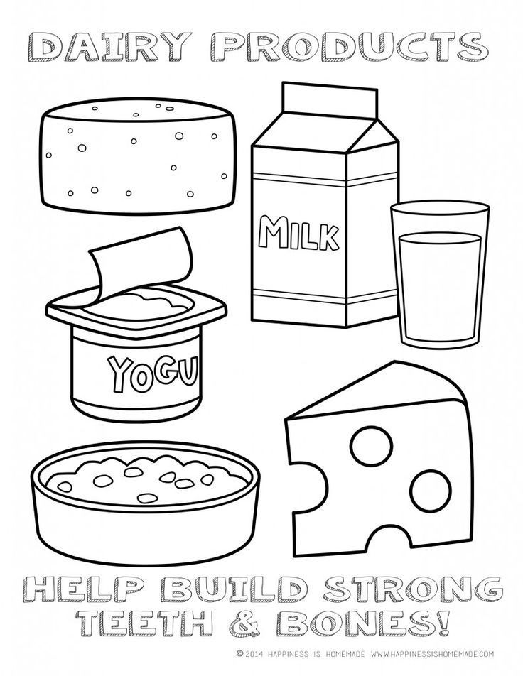 Printable Healthy Eating Chart & Coloring Pages | Dairy, Coloring ...