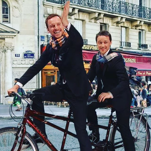 If I ever feel down I will just look at this picture.  #michaelfassbender #jamesmcavoy #filth #assassinscreed #grahamnorton #funny