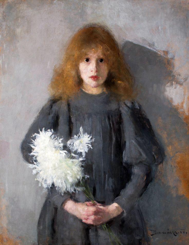 Girl with chrysanthemums by Olga Boznańska, 1894 (PD-art/70), Muzeum Narodowe w Krakowie (MNK)
