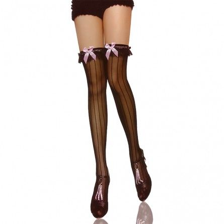 Black Thigh High Cheshire Cat Costume Stockings With Bows