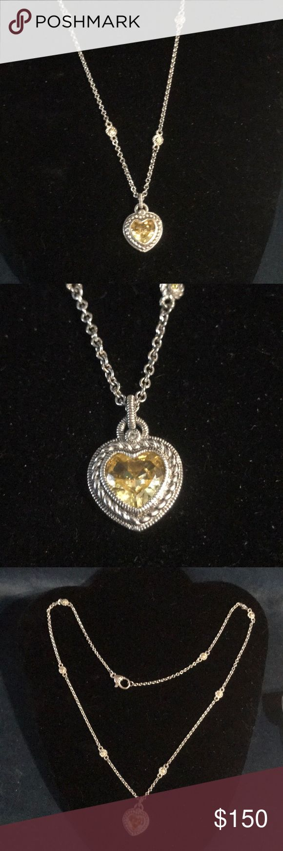 "Judith Ripka Yellow Heart Necklace Sterling Silver and CZ Judith Ripka Heart Necklace  Signed: Judith, 925 The chain is approximately 22"" and Pendant is approximately 1"" if you don't like my price make me a offer! Judith Ripka Jewelry Necklaces"