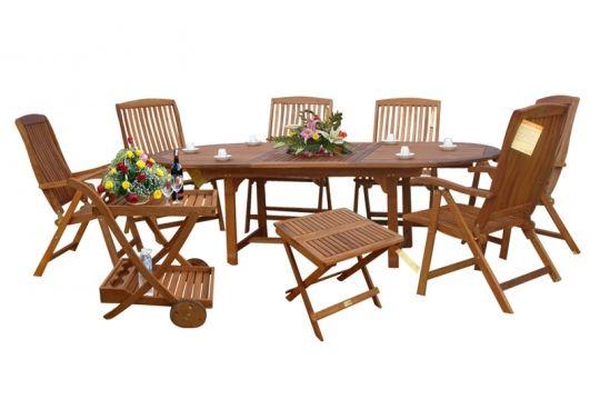 Gartenmobel Weiss Eisen :  Set mit Beistelltisch aus Eukalyptusholz, ausziehbarer Tisch, 9teilig