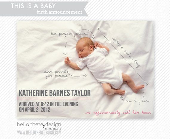 BABY ANNOUNCEMENTS : this is a baby style - flat cards and envelopes. $15.00, via Etsy.